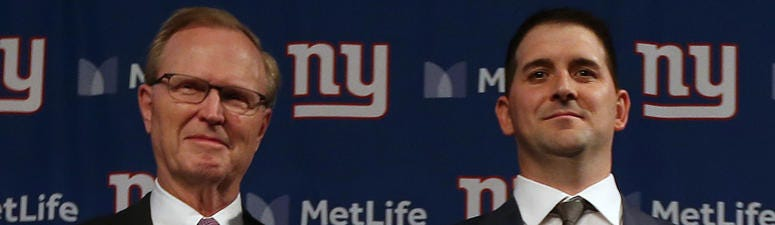From left, Giants co-owner John Mara and head coach Joe Judge