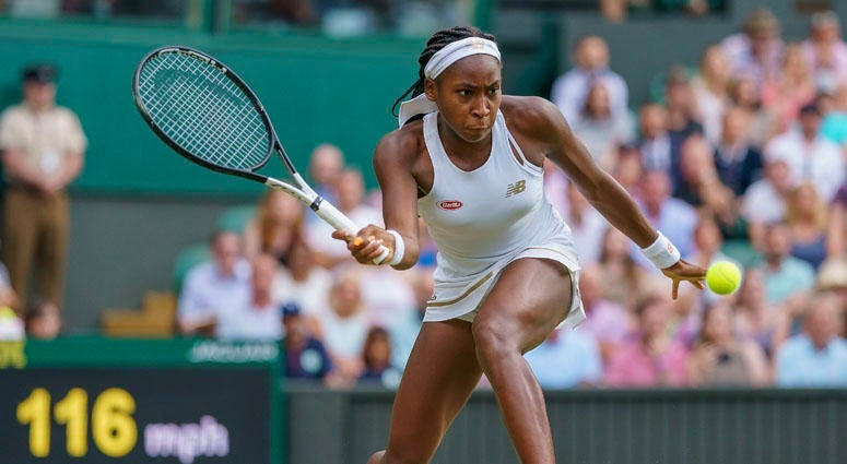 Cori Gauff hits the ball against Polona Hercog (not pictured) at Wimbledon on July 6, 2019.