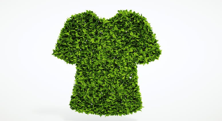 Sustainable clothing: T-shirt made from green leaves