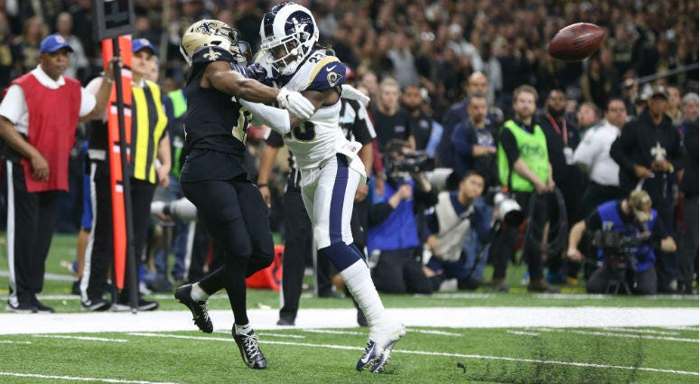 Nickell Robey-Coleman breaks up a pass intended for Tommylee Lewis during the fourth quarter of the NFC Championship game at Mercedes-Benz Superdome.