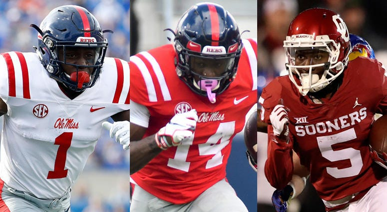 From left, A.J. Brown, D.K. Metcalf and Marquise Brown