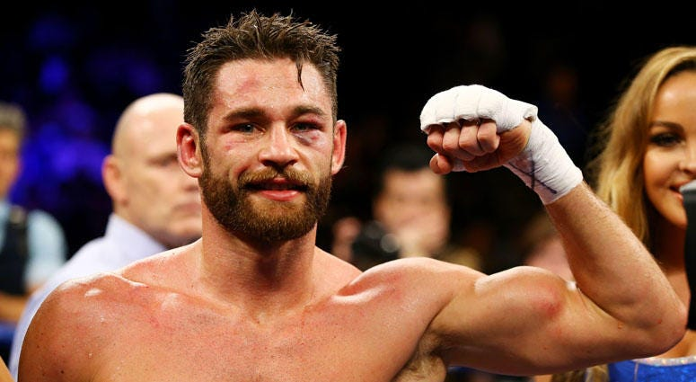 Chris Algieri celebrates defeating Erick Bone after their welterweight bout on Dec. 5, 2015 in Brooklyn.