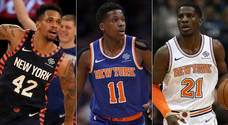 From left, Lance Thomas, Frank Ntilikina and Damyean Dotson
