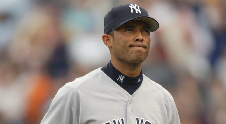 The Yankees' Mariano Rivera reacts to giving up the game-winning home run to Shea Hillenbrand of the Boston Red Sox on April 13, 2002.