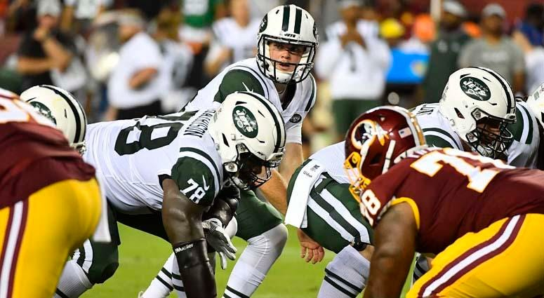 Sam Darnold lines up under center against the Washington Redskins on Aug. 16, 2018, at FedEx Field in Landover, Maryland.
