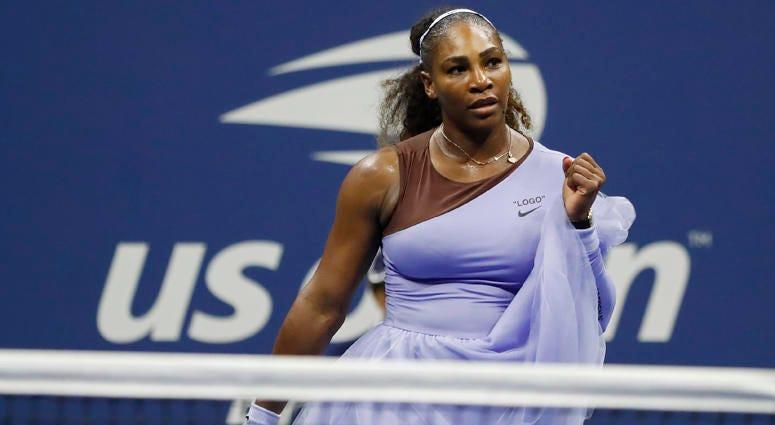 Serena Williams celebrates after match point against Anastasija Sevastova of Latvia in a women's semifinal match on Sept. 6, 2018, at the U.S. Open at USTA Billie Jean King National Tennis Center.