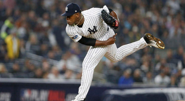 The Yankees' Luis Severino pitches in the first inning in Game 3 of the ALDS against the Boston Red Sox on Oct. 8, 2018, at Yankee Stadium.