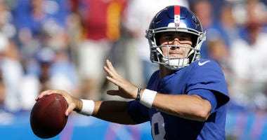 New York Giants quarterback Daniel Jones looks to pass during the second half of an NFL football game against the Washington Redskins, Sunday, Sept. 29, 2019, in East Rutherford, N.J.