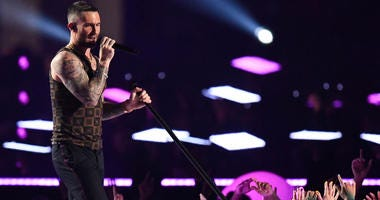 Feb 3, 2019; Atlanta, GA, USA; Maroon 5 lead singer Adam Levine performs during the halftime show in Super Bowl LIII at Mercedes-Benz Stadium. Mandatory Credit: Dale Zanine-USA TODAY Sports