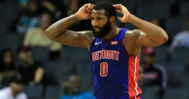 Andre Drummond of the Detroit Pistons reacts after a play against the Charlotte Hornets during their game at Spectrum Center on October 16, 2019 in Charlotte, North Carolina.