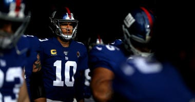 Eli Manning #10 of the New York Giants waits to take the field against the Miami Dolphins during their game at MetLife Stadium on December 15, 2019 in East Rutherford, New Jersey