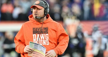 Cleveland Browns head coach Freddie Kitchens during the second half against the Baltimore Ravens at FirstEnergy Stadium.