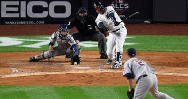 Yankees catcher Gary Sanchez strikes out against Astros pitcher Zack Greinke with the bases loaded during the first inning of ALCS Game 4 on Oct. 17, 2019, at Yankee Stadium.