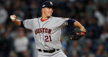 Astros starting pitcher Zack Greinke pitches against the Yankees in Game 4 of the ALCS at Yankee Stadium.