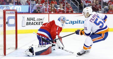 Islanders center Valtteri Filppula scores a goal on Washington Capitals goaltender Pheonix Copley on April 6, 2019, at Capital One Arena in Washington.