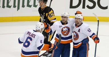 The Islanders won the game 3-1 and swept the series four games to none. Mandatory Credit: Charles LeClaire-USA TODAY Sports