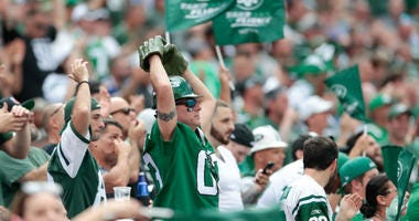 Sep 8, 2019; East Rutherford, NJ, USA; New York Jets fans react during the second half against the Buffalo Bills at MetLife Stadium