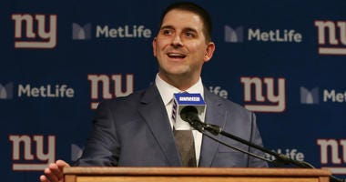 Joe Judge talks to the media after he was introduced as the new head coach of the Giants during a news conference at MetLife Stadium on January 9, 2020 in East Rutherford, New Jersey.