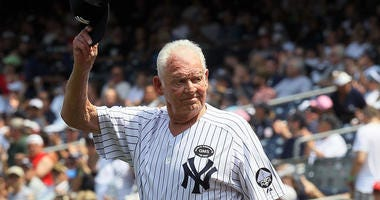 Former New York Yankee Don Larsen is introduced during the team's 64th Old-Timers' Day on July 17, 2010, at Yankee Stadium.