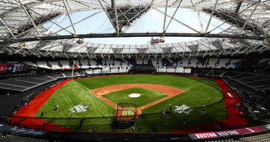 JUNE 28: A general view of the stadium during previews ahead of the MLB London Series games between Boston Red Sox and New York Yankees at London Stadium on June 28, 2019 in London, England.