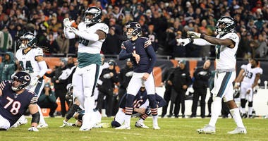 Bears kicker Cody Parkey misses a field goal in the fourth quarter against the Philadelphia Eagles in an NFC wild-card playoff game on Jan. 6, 2018, at Soldier Field in Chicago.