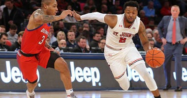 St. John's guard Shamorie Ponds drives against DePaul guard Devin Gage during a Big East Conference tournament game on March 13, 2019, at Madison Square Garden.
