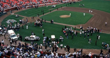 General view of the crowds in Candlestick Park after the Oct. 17, 1989, earthquake.