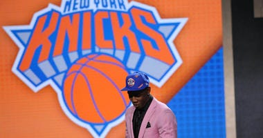 RJ Barrett reacts after being selected as the No. 3 overall pick to the New York Knicks in the first round of the NBA draft at Barclays Center in Brooklyn.