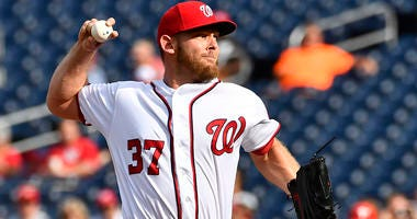 The Nationals' Stephen Strasburg pitches against the Philadelphia Phillies on Sept. 26, 2019, at Nationals Park in Washington.