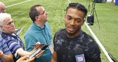 May 20, 2019; East Rutherford, NJ, USA; New York Giants corner back Sam Beal answers questions from media during organized team activities at Quest Diagnostic Training Center