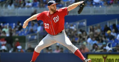 Stephen Strasburg of the Washington Nationals throws a pitch during the second inning against the Miami Marlins at Marlins Park on April 21, 2019 in Miami, Florida.
