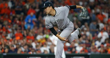 Masahiro Tanaka pitches in Game 1 of the ALCS on Oct. 12, 2019, in Houston.