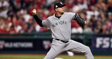 New York Yankees relief pitcher Dellin Betances (68) pitches in the eighth inning against the Cleveland Indians in game one of the 2017 ALDS on Oct 5, 2017 at Progressive Field.