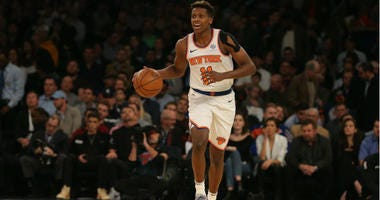 Frank Ntilikina controls the ball against the Brooklyn Nets during the first quarter at Madison Square Garden.