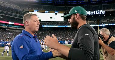 Giants head coach Pat Shurmur shakes with Jets head coach Adam Gase after a game Aug 8, 2019; East Rutherford, NJ
