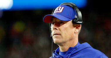 Oct 10, 2019; Foxborough, MA, USA; New York Giants head coach Pat Shurmur watches a play against the New England Patriots during the first half at Gillette Stadium