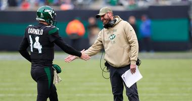 Adam Gase and Jets quarterback Sam Darnold shake hands after a touchdown against the New York Giants Nov 10, 2019; East Rutherford, NJ, USA