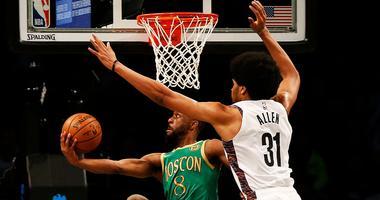 Boston Celtics guard Kemba Walker shoots against Brooklyn Nets center Jarrett Allen Nov 29, 2019; Brooklyn, NY