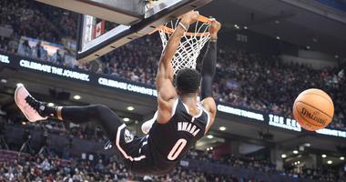 Nets guard David Nwaba dunks during the third quarter against the Toronto Raptors Dec 14, 2019; Toronto, Ontario, CAN