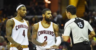 Iman Shumpert and Kyrie Irving argue with referee Zach Zarba while with the CavaliersDec 23, 2016; Cleveland, OH