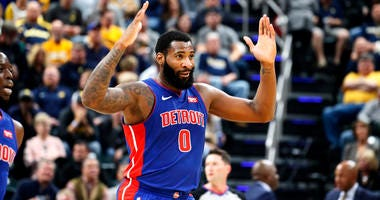 Detroit Pistons center Andre Drummond reacts in a game against the Indiana Pacers on Oct. 23, 2019, at Bankers Life Fieldhouse in Indianapolis.