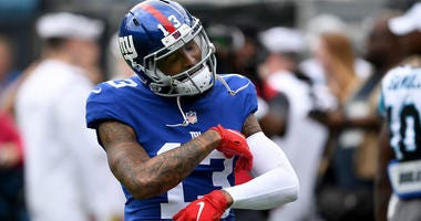 Odell Beckham Jr. of the Giants reacts against the Carolina Panthers on Oct. 7, 2018, at Bank of America Stadium on Oct. 7, 2018 in Charlotte, North Carolina.