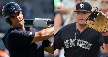Yankees first basemen Greg Bird (left) and Luke Voit