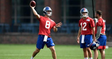 Giants quarterback Daniel Jones (8) passes the ball during a drill during rookie minicamp on March 4, 2019, at Quest Diagnostics Training Center in East Rutherford, New Jersey.