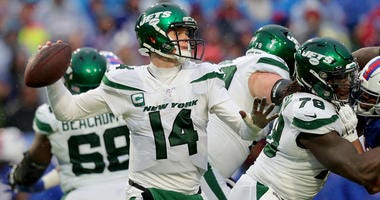 Sam Darnold drops back to pass against the Buffalo Bills on Dec. 29, 2019, at New Era Field in Orchard Park, New York.