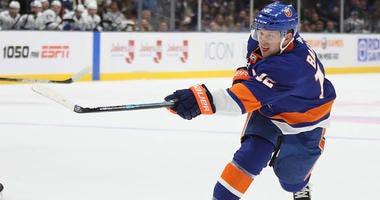 The Islanders' Josh Bailey skates against the Tampa Bay Lightning on Nov. 1, 2019, at NYCB Live's Nassau Coliseum.