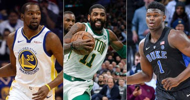 Kevin Durant, Kyrie Irving and Zion Williamson