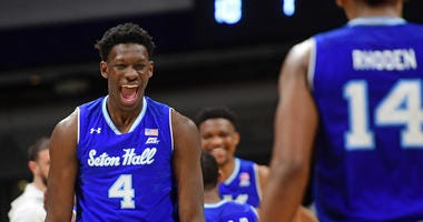 Seton Hall forward Tyrese Samuel celebrates after the Pirates defeated the Butler Bulldogs, 78-70, on Jan. 15, 2020, at Hinkle Fieldhouse in Indianapolis.