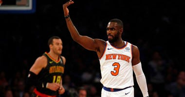 Knicks guard Tim Hardaway Jr. reacts against the Atlanta Hawks on Oct. 17, 2018,  at Madison Square Garden.