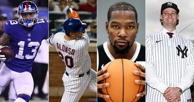 From left, Odell Beckham Jr., Pete Alonso, Kevin Durant and Gerrit Cole
